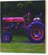 Artful Tractor In Purples Wood Print