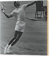 Arthur Ashe Playing Tennis Wood Print