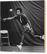 Arthur Ashe Returning Tennis Ball Wood Print