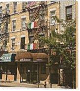 Arthur Avenue In The Bronx Wood Print
