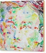 Arthur Rimbaud Watercolor Portrait Wood Print