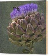 Artichoke Bloom And Bee Dip Wood Print
