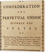 Articles Of Confederation, 1777 Wood Print