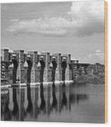Artisan Lakes Bridge 1bw Wood Print