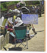 Artist At Work In Seaview - Isle Of Wight Wood Print