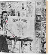 Artist Chuck Amesbury Aka Chuck Waggin Cartoon Corral Kvoa Tv Circa 1962-2013 Wood Print