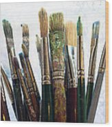 Artist Paintbrushes Wood Print