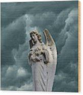 Artistic Creation Of Angel And Dark Wood Print