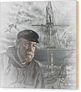 Artistic Digital Image Of An Old Sea Captain Wood Print