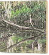 Artistic Drying Cormorant- Black Bird Sitting On Log Over Water Wood Print