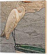 Artistic Egret And Boat Wood Print
