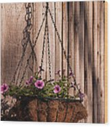 Artistic Hanging Basket Of Petunias Wood Print
