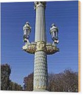 Artistic Lamp Post At The Place De La Concorde In Paris France Wood Print