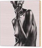 Artistic Nude Beautiful Woman Beige Background Wood Print