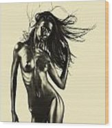 Artistic Nude Of Young Woman Beige Background Wood Print
