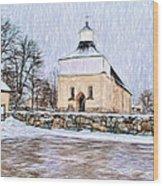 Artistic Presentation Of #svinnegarns #kyrka #church Of #svinnegarn March 2014 Viewed From The Parki Wood Print