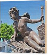 Artistic Statue On Alexandre Bridge Against Eiffel Tower Wood Print