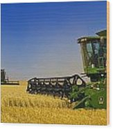 Artists Choice Two Combine Harvesters Wood Print