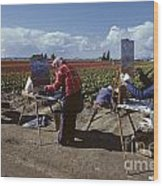 Artists Painting Tulip Fields Standing In A Row  Wood Print