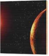 Artwork Of Red Dwarf And Orbiting Planet Wood Print