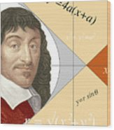 Artwork Of Rene Descartes With Equations And Lines Wood Print
