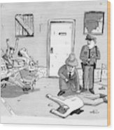 As Police And A Detective Examine A Murder Scene Wood Print