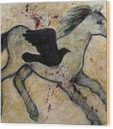 As The Crow Flies Impasto Horse Wood Print