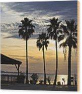 As The Sun Sets South Padre Island Texas Wood Print