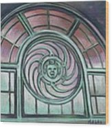 Asbury Park Carousel Window Wood Print by Melinda Saminski