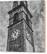 Ascona Clock Tower Bw Wood Print