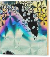 Ascorbic Acid Crystals In Polarized Light Wood Print