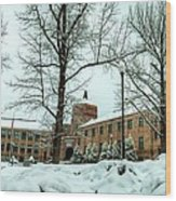 Asheville High School During Winter Wood Print