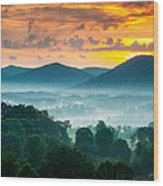 Asheville Nc Blue Ridge Mountains Sunset - Welcome To Asheville Wood Print by Dave Allen