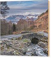 Ashness Bridge And Snow Capped Skiddaw Wood Print