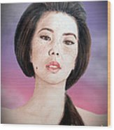 Asian Beauty Fade To Black Version Wood Print