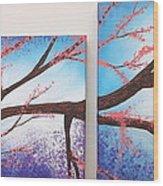 Asian Bloom Triptych 1 2 Wood Print