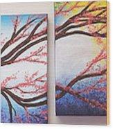 Asian Bloom Triptych 2 3 Wood Print