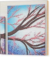 Asian Bloom Triptych Wood Print