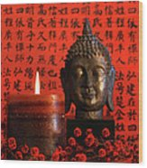 Asian Candle With Red Orential Background Wood Print by Sandra Cunningham