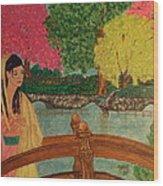 Asian Girl On Bridge  Wood Print