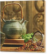 Asian Herb Tea Wood Print by Sandra Cunningham