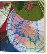 Asian Umbrellas Wood Print
