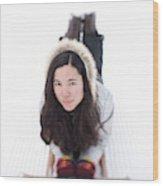 Asian Woman Posing For A Portrait Lying Wood Print