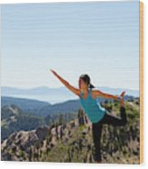 Asian Woman Practicing Yoga Outdoors Wood Print