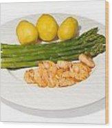 Asparagus And Shrimps Wood Print