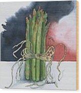 Asparagus In Raffia Wood Print
