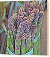 Asparagus Stalks Bound With Rubber Bands Wood Print