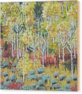 Aspen And Sage  Wood Print