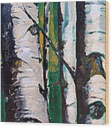 Aspen Glade At Dusk Wood Print