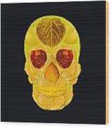 Aspen Leaf Skull 1 Black Wood Print